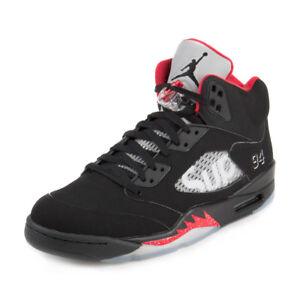best website 9d694 94d2f Image is loading Nike-Mens-Air-Jordan-5-Retro-Supreme-Black-