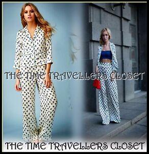 NEW-TOPSHOP-Kate-Moss-Cream-Blue-Pyjama-Set-Floral-Blouse-Palazzo-Trousers-UK-6