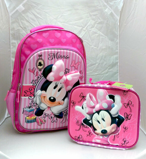 """DISNEY 16"""" Backpack School Set w Insulated Lunch Bag MINNIE MOUSE Girl Kids Gift"""