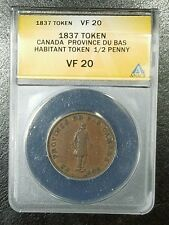 1837 Habitant Half Penny Token Province du Bas Canada VF 20