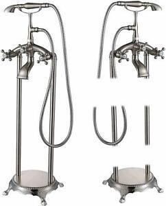 Brushed Nickel Free Standing Bathtub Faucet Free Standing ...