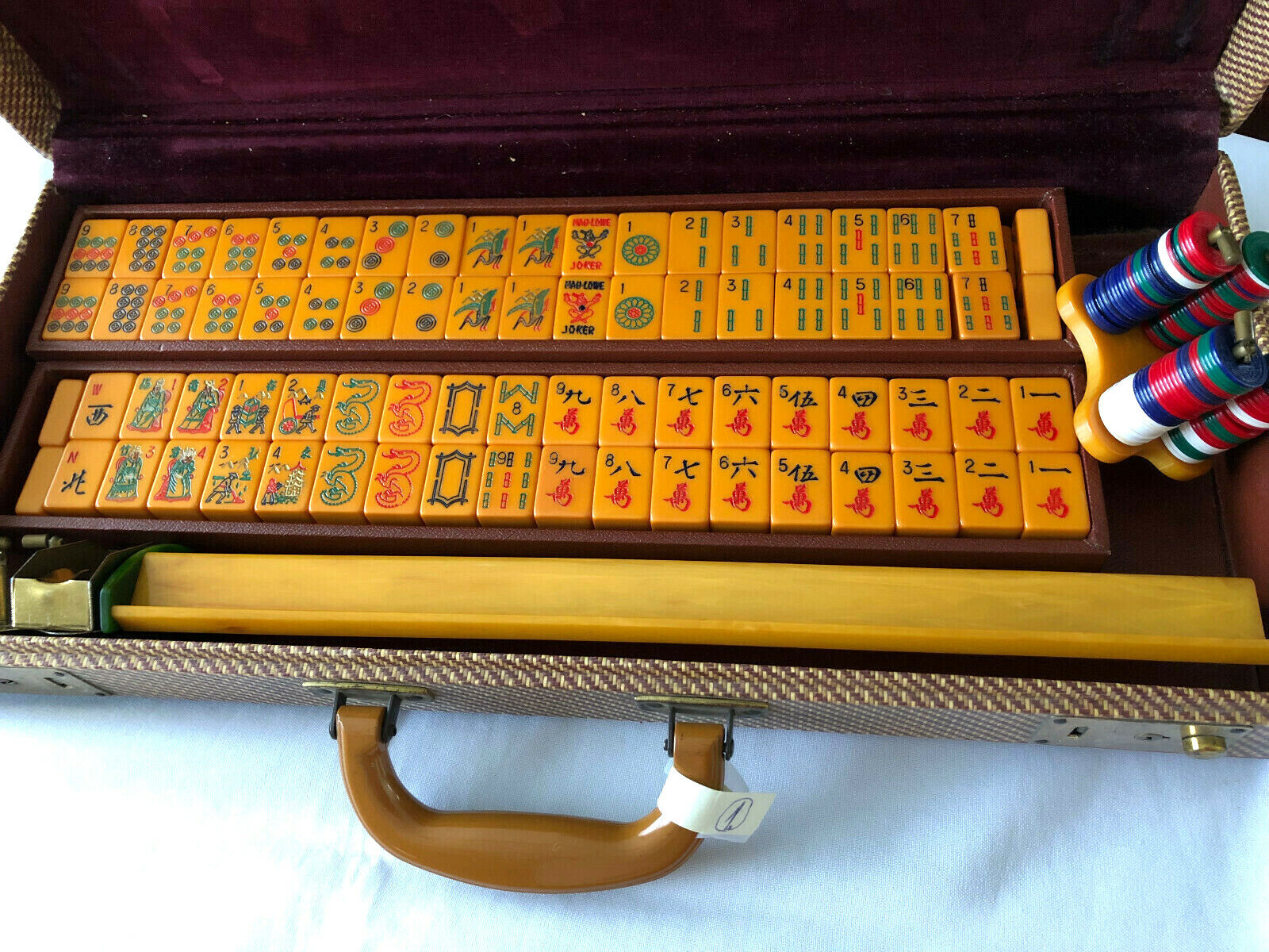 Vintage Mah  Jong Set with 152 tiles plus bank, Mahjong, Old Bakelite  prodotto di qualità