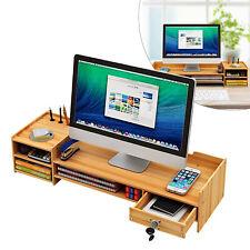 Wood Desk Organizer Storage Office Home Computer Monitor Laptop Holder Desktop