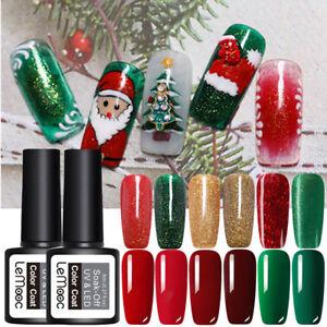 LEMOOC-8ml-Nagel-Gellack-Soak-off-Weihnachten-Nail-UV-Gel-Polish-Rot-Gruen-Gold