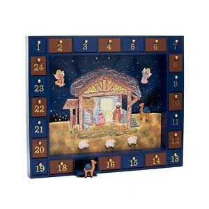 Kurt Adler J3767 Wooden Nativity Advent Calendar With 24 Magnetic
