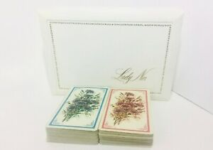 Vintage-Lady-Nor-Playing-Cards-Double-MYLAR-Slim-Deck-Purple-amp-Pink-Wild-Flowers