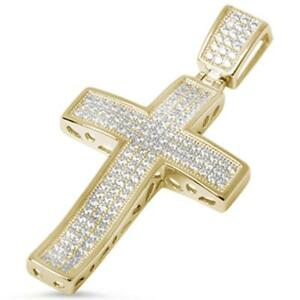 Yellow Gold Plated Micro Pave Cubic Zirconia Cross .925 Sterling Silver Pendant
