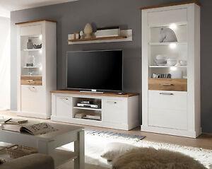 Details zu Wohnzimmer Möbel Wohnwand weiß Pinie Nussbaum Satin Landhaus  Schrankwand Toronto