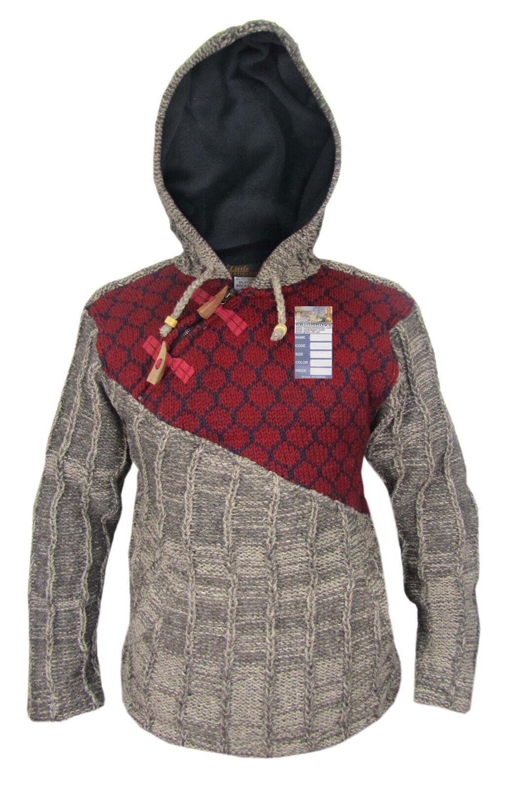 Maroon Mix Cross Zip Ribbed Woolen Patchwork Warm Hippie Boho Jumper Pullover
