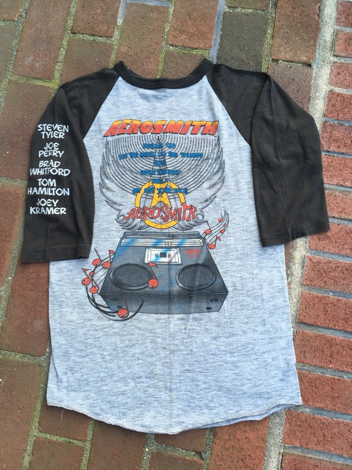 Vintage Aerosmith Shirt 1986 3/4 Length Baseball Shirt sz Med