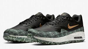 Nike-Air-Max-1-Golf-NRG-034-Zahltag-034-UK-8-5-amp-10-Schwarz-Gruen-Gold-bq4804-001