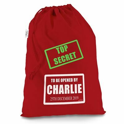 Personalised Top Secret Red Santa Sack Christmas Stocking Gift Bag