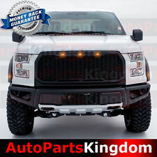 15-17 Ford F150 Raptor Matte Black Front Hood Mesh Grille+Shell+Amber LED Light