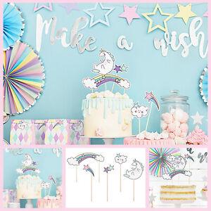 Party HAPPY BIRTHDAY Cake Bunting Topper Unicorn Decoration Pastel Kids