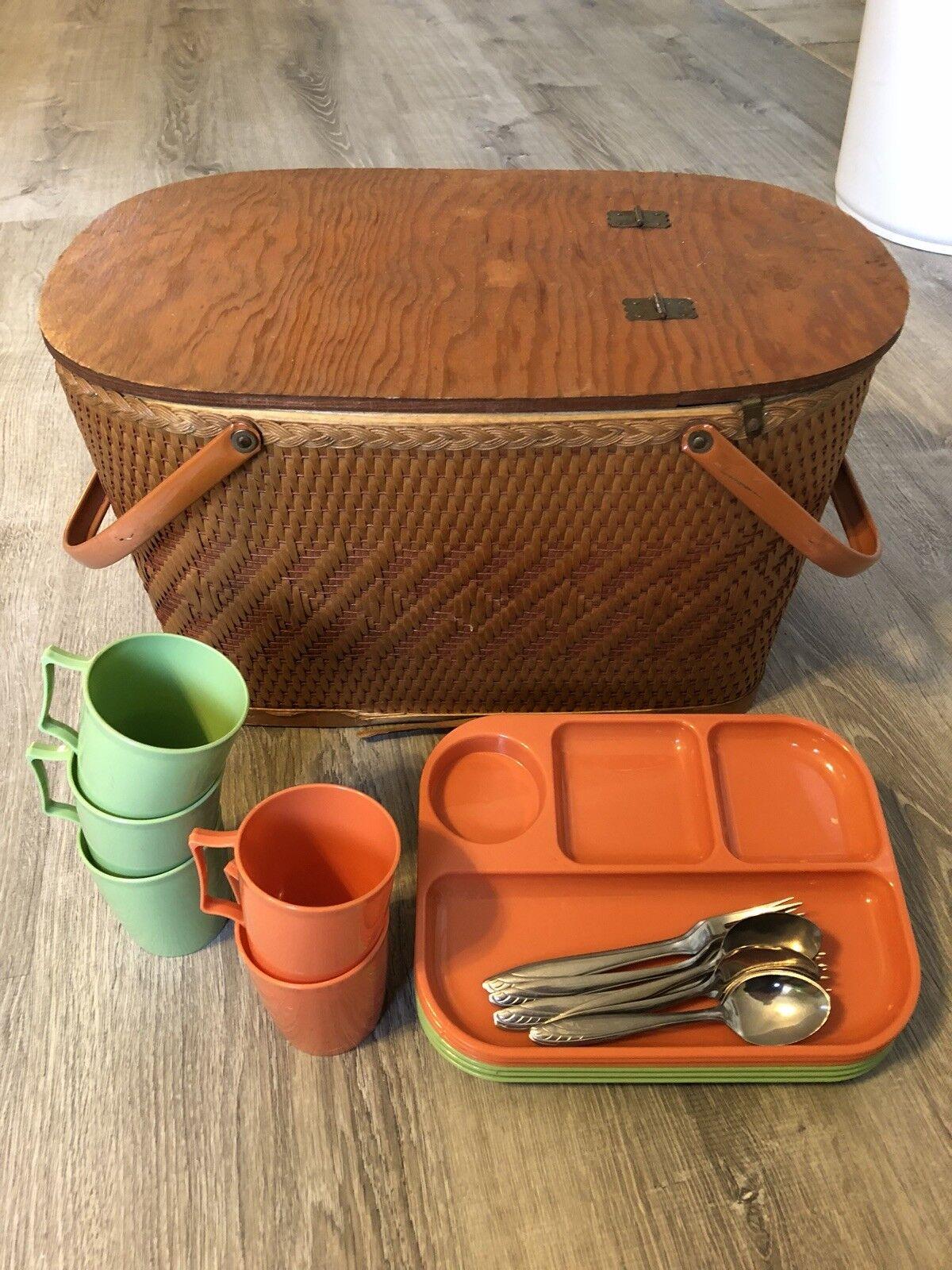 Vintage 1960s rojomon Mimbre Placa de cesta de Mimbre Picnic pie plato Juego De Cubiertos 6