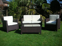 Garden Rattan Wicker Outdoor Conservatory Furniture Set Table Chairs Brown