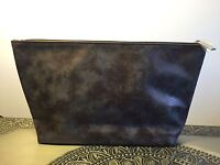Nordstrom Metallic Brown Faux Suede Cosmetic Bag Purse Pouch