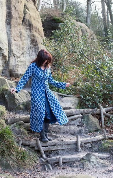 Nila Rubia Handblock Diamond Printed Blau Slip Dress Jersey Cotton Long Sleeve