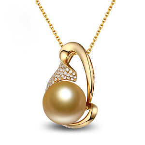 18ct Yellow Gold Natural Golden Southsea Large Pearl amp Diamond Pendant VS - London, United Kingdom - 18ct Yellow Gold Natural Golden Southsea Large Pearl amp Diamond Pendant VS - London, United Kingdom