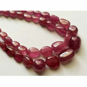 8 Inches GLASS FILLED RUBY Smooth Tumble Shape Treated Gemstone Plane Center Drill Beads Line Unique Gemstone Beads Ruby Beads Strand