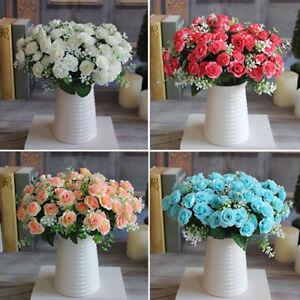 Kf _ горячий 1 букет 15 головка искусственное пластик розовый шелк цветок свадьба домашний Деко