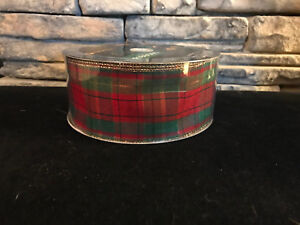 50-Yards-Christmas-Holiday-Plaid-Wired-Ribbon-2-5-034-Wide-Wholesale-Lot