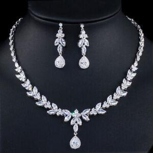 CWWZircons-Luxury-Leaf-Cubic-Zirconia-Silver-Plated-Wedding-Necklace-Jewelry-Set