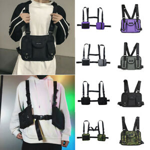 Mens-Tactical-Harness-Chest-Rig-Bag-Unisex-Hip-Hop-Oxford-Two-Pockets-Fanny-Pack