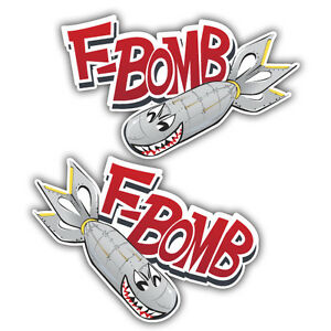 Pair-of-F-bomb-military-racing-sticker-decal-vw-euro-hotrod-240mm-x-155mm-x2