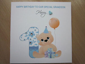 Personalised handmade boys 1st first birthday card son brother image is loading personalised handmade boys 1st first birthday card son bookmarktalkfo Images