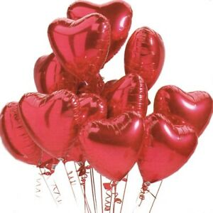 12x-RED-18-034-HEART-Shape-Foil-Helium-BALLOON-Valentine-Wedding-Engagement-Love