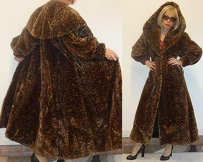 UNIQUE VINTAGE LEOPARD FAUX FUR LONG SWING SWEEP COAT with SHAWL/HOOD COLLAR XS