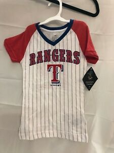 newest b2f8f c1655 Details about NWT MLB Texas Rangers Rougned Odor 12, girls pin-striped  shirt with sparkle logo