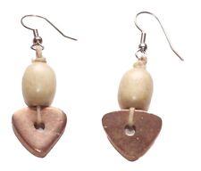 Charismatic & minimal copper pyramid & brown beads/metal hook earrings(ZX272)