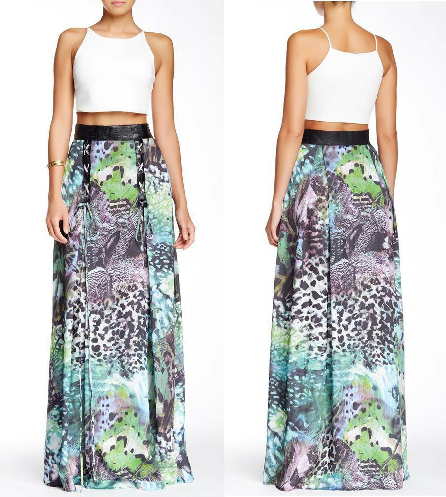 NEW TOV HOLY Multi-color Lionfish Lace Up Maxi Skirt S M L XL MSRP  192