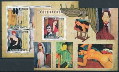 263522) Sao Tomé Und Principe Klbg.4175-8+bl.715** 90.todestag Amedeo Modigliani