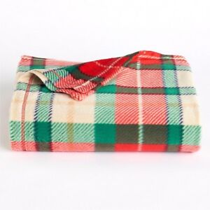 Red Green Plaid Shimmer Print Fleece Throw Blanket St Nicholas Square 60x50 NIP