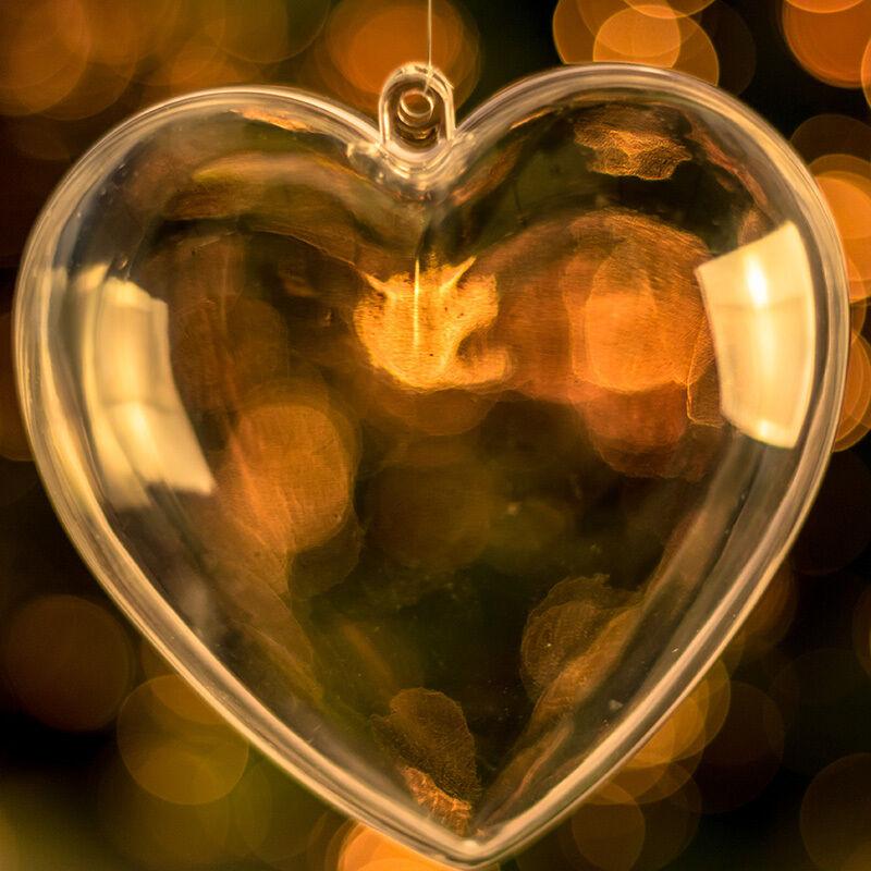 X100 en forma de corazón vacío Fillable Transparente día de San Valentín contenedores Regalo Idea 100mm