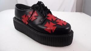 TUK MIE ENGLAND MADE 'IRONCROSS' BLACK RED LEATHER CREEPER SOLE UK 6 US 7 WMNS 9