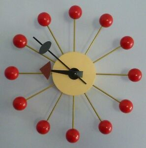 Classic-Retro-Red-Wood-Ball-Wall-Clock-Modern-Design-George-Nelson-Replica