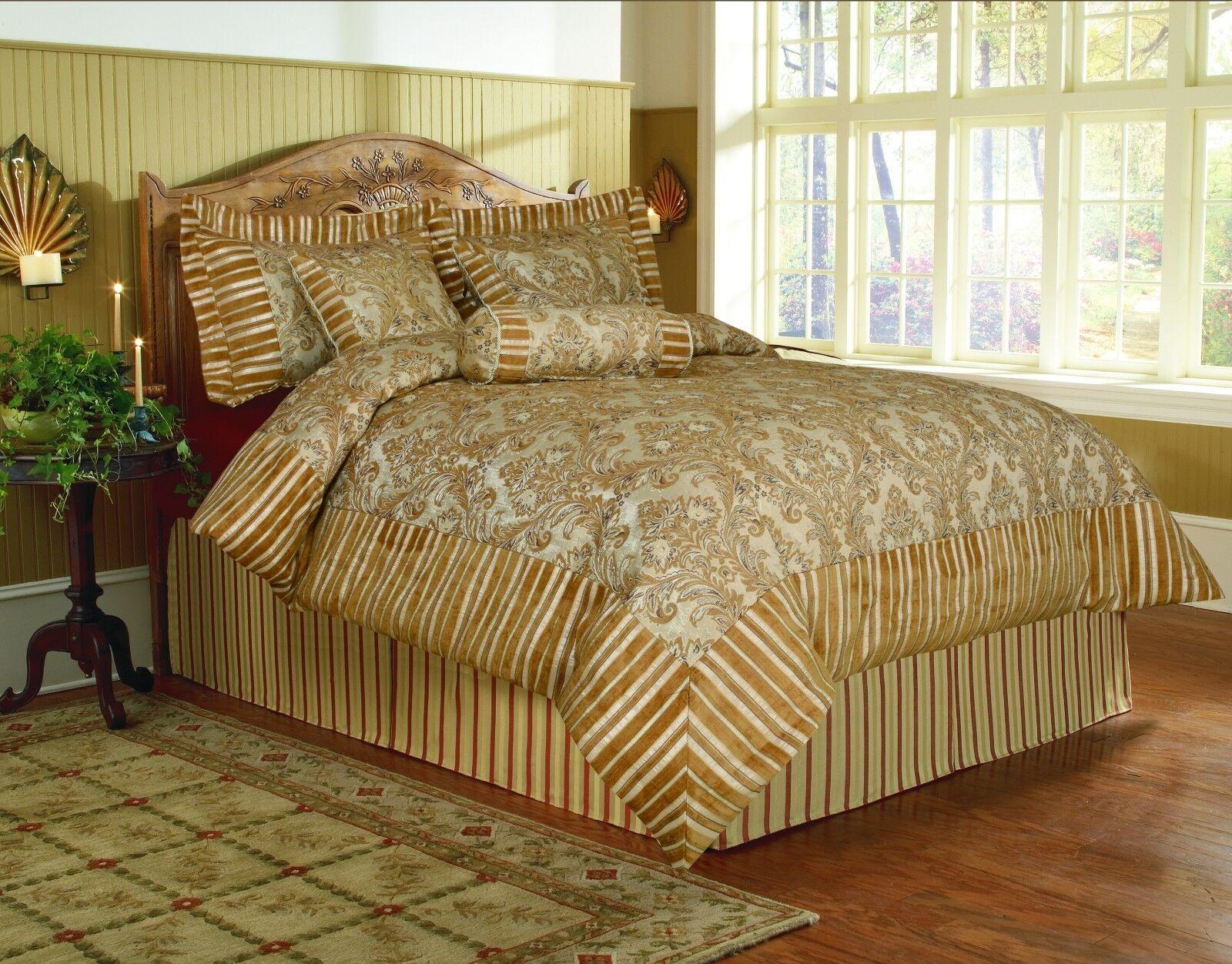 Tache 6 PC Luxury Fancy Golden Floral Paisley Fall's End Chenille Comforter Set
