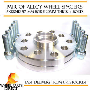 VW-Volkswagen-Audi-Alloy-Wheel-Spacers-Spacer-Kit-5x100-112-57-1-20mm-OE-Bolts