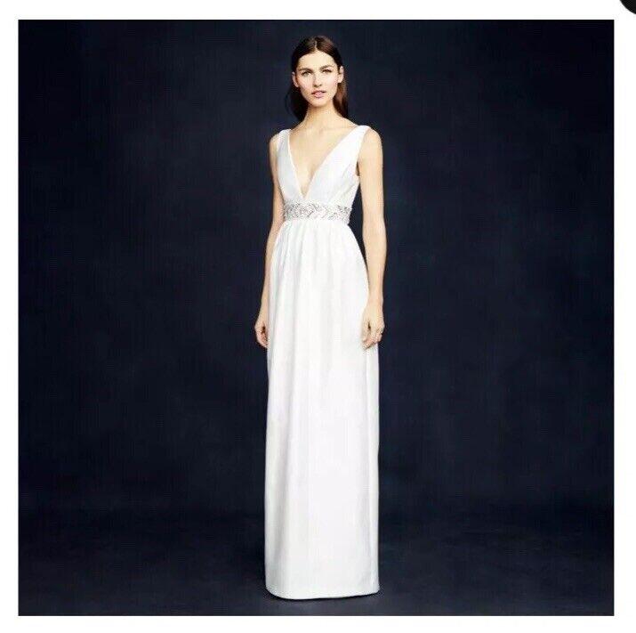 *NWT* J Crew Ivory Silk and Cotton Taffeta Annabelle Modern Wedding Dress Sz 6