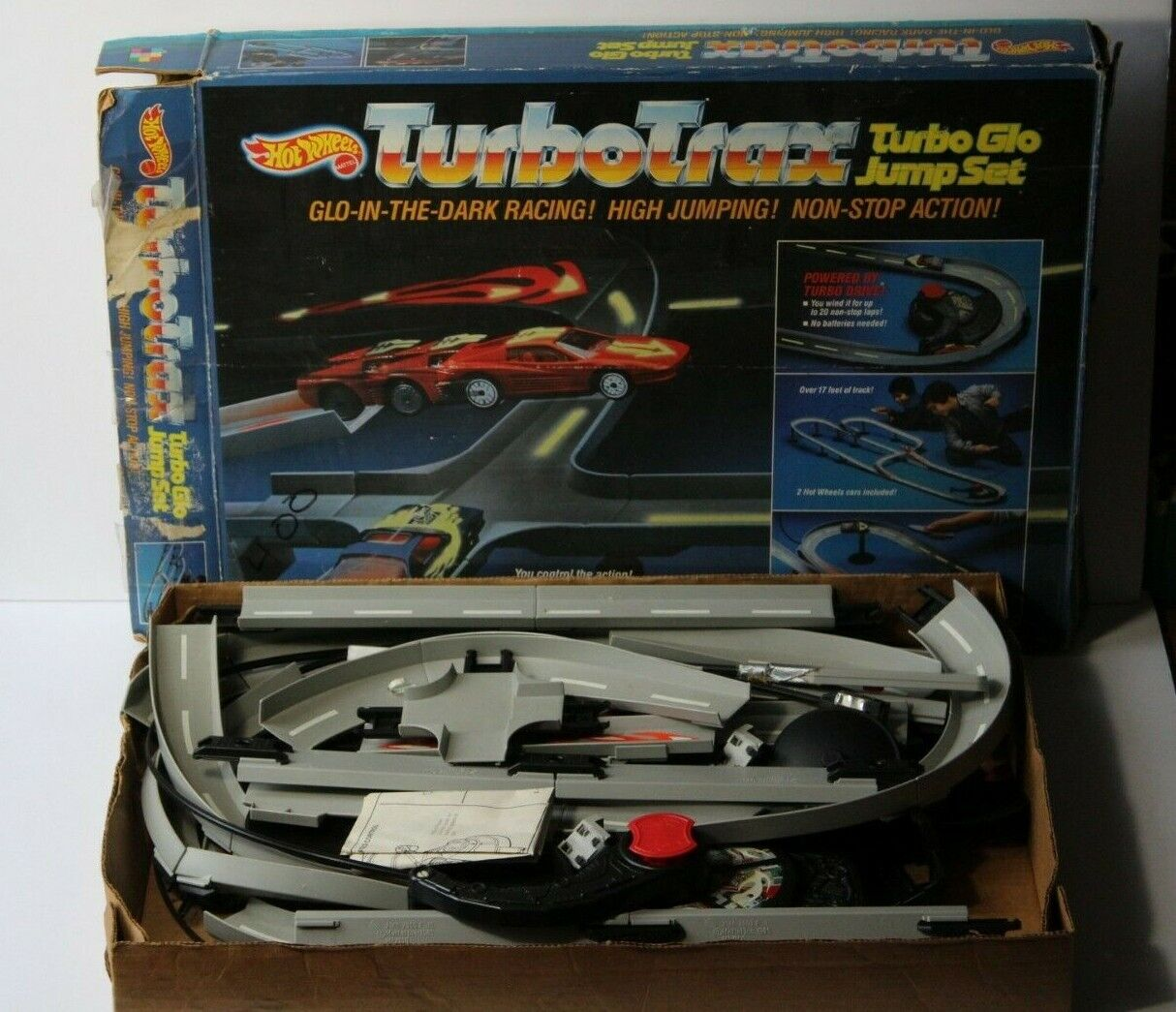 Vintage 1986 Hot Wheels Turbo Trax Racing Racing Racing Car Toy in Box Original Instructions a109c8
