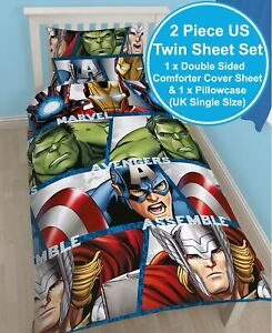Marvel-avengers-Bouclier-Simple-Housse-Couette-Reversible-Thor-Hulk-Iron-Man-New