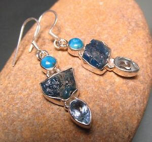 Sterling-silver-triple-rough-apatite-cut-topaz-cab-turquoise-earrings