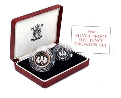 Royal Mint 1990 5p Silver Proof 2 Coin Set Boxed with C of A