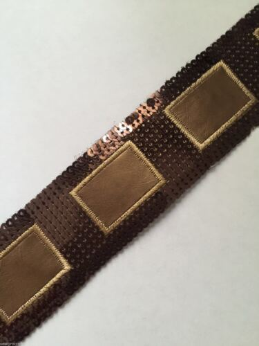 Crafts Brow Simplicity Sequin Faux Leather Square Band Trim 38mm x 1m Soft