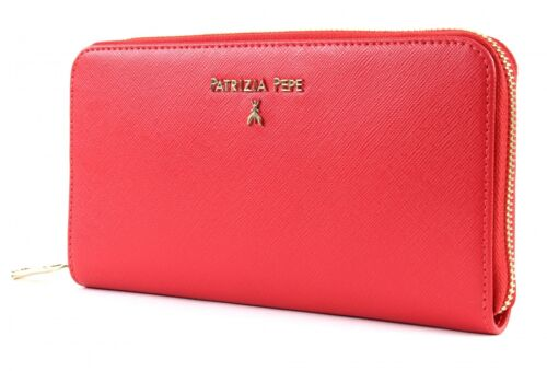 PATRIZIA PEPE Lock Saffiano Zip Around Wallet Geldbörse Vivid Red Rot Neu