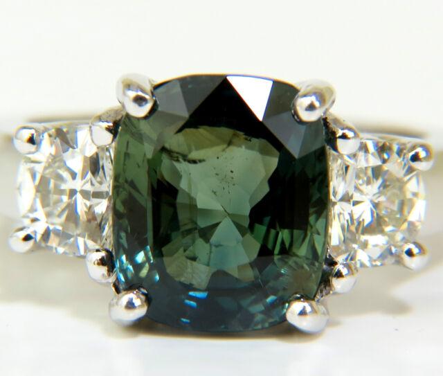$33000 CERTIFIED 6.96CT NO HEAT NATURAL GREEN SAPPHIRE DIAMOND RING UNHEATED █